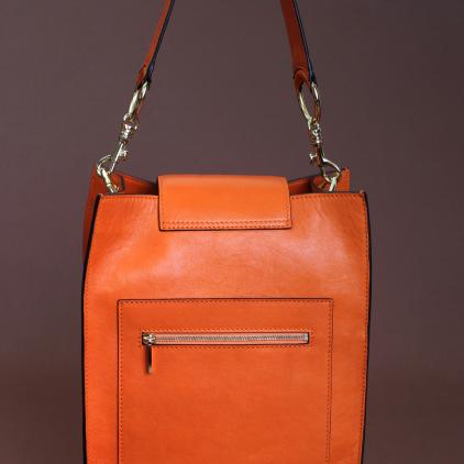 Original bolso rectangular de napa naranja